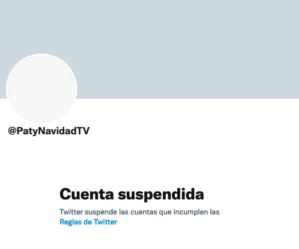 Twitter suspende otra vez la cuenta de Paty Navidad.