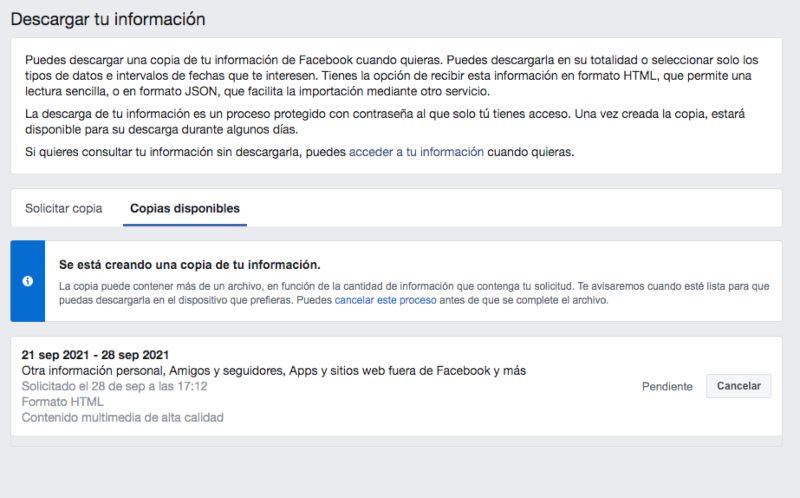 cómo descargar información de facebook