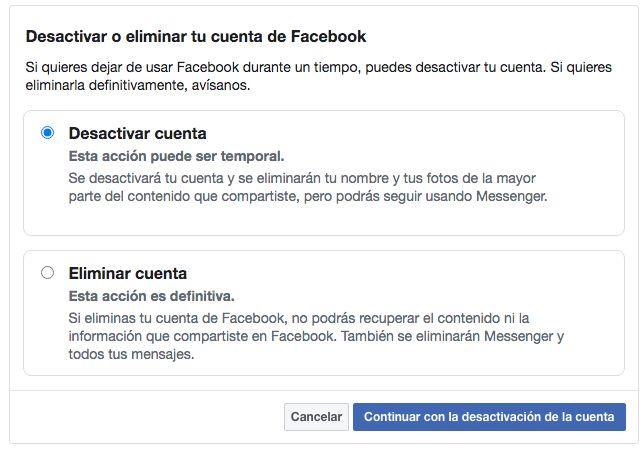 desactivar una cuenta de Facebook